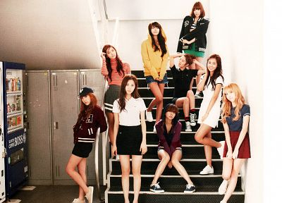 women, Girls Generation SNSD, celebrity, stairways, Seohyun, singers, Jessica Jung, Kim Taeyeon, Kwon Yuri, Im YoonA, Kim Hyoyeon, Choi Sooyoung, vending machines, Lee Soon Kyu, Tiffany Hwang - related desktop wallpaper
