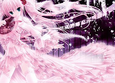 dress, fences, pink, blue eyes, tights, anime, flower petals, Tinkle Illustrations, roses, pink dress, anime girls, fans - related desktop wallpaper