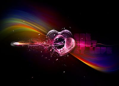 multicolor, digital art, hearts - random desktop wallpaper