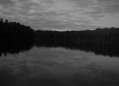 clouds, black, dark, forests, gray, eerie, lakes, reflections - desktop wallpaper