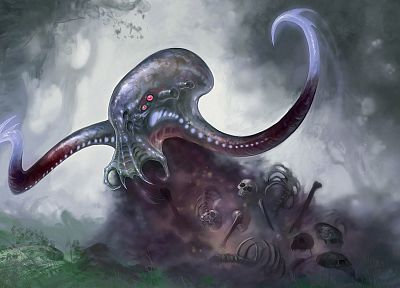 monsters, Cthulhu, octopuses, fantasy art, skeletons, artwork, occult - random desktop wallpaper