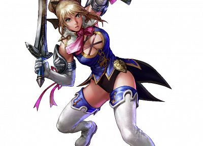 women, Soul Calibur, shield, swords, white background - related desktop wallpaper