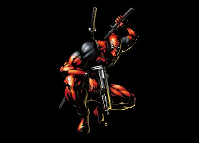 black, comics, Deadpool Wade Wilson, artwork, Marvel Comics, black background - random desktop wallpaper