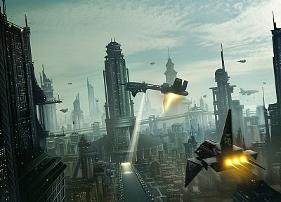 futuristic, ships, buildings, skyscrapers, science fiction, cities - random desktop wallpaper