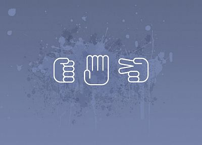 paper, minimalistic, signs, hands, scissors, rocks - desktop wallpaper