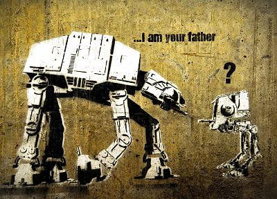 Star Wars, funny, Banksy, AT-AT, street art, AT-ST, I am your Father - random desktop wallpaper