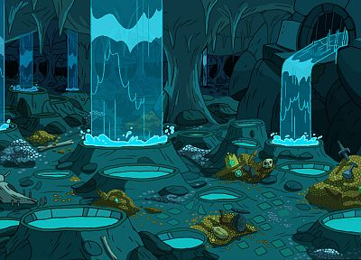 cartoons, caves, animation, Adventure Time, backgrounds, treasure - desktop wallpaper