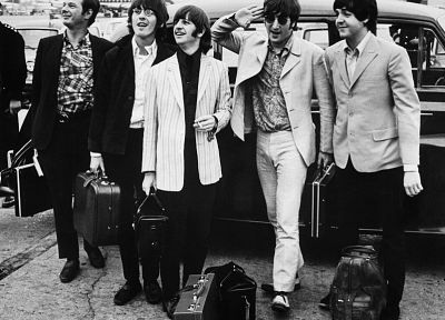 The Beatles, John Lennon, George Harrison, airports, Ringo Starr, Paul McCartney - random desktop wallpaper