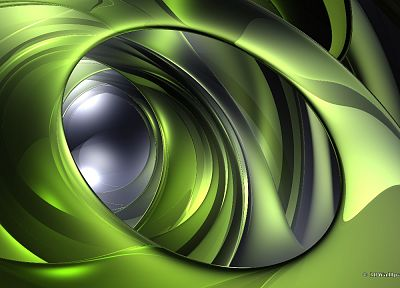 green, abstract, 3D - random desktop wallpaper