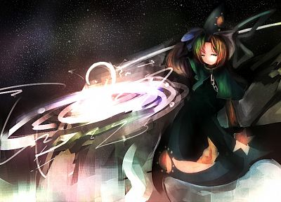 abstract, Touhou, dark, green eyes, magic, green hair, hats, Mima, anime girls - desktop wallpaper
