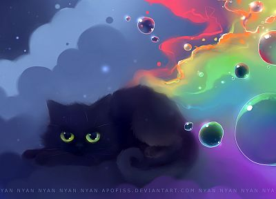 bubbles, artwork, kittens, Apofiss - related desktop wallpaper