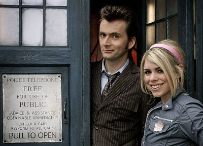 Rose Tyler, TARDIS, David Tennant, Billie Piper, Doctor Who, Tenth Doctor - related desktop wallpaper