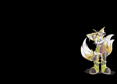 Sonic the Hedgehog, tails, Sega Entertainment, black background, Miles Prower, Miles Tails - related desktop wallpaper