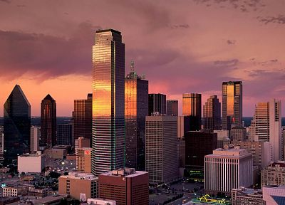 sunset, cityscapes, buildings, Dallas - desktop wallpaper