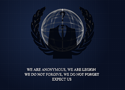 Anonymous, blue background - desktop wallpaper