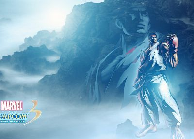 video games, Ryu, Marvel vs Capcom, artwork, Bosslogic, Marvel vs Capcom 3 - related desktop wallpaper