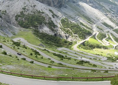 mountains, nature, valleys, Italy, roads, Stelvio Pass - random desktop wallpaper
