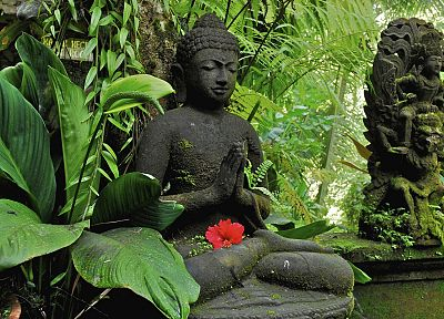 nature, plants, sculptures, Buddhism, statues - random desktop wallpaper