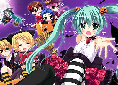 Vocaloid, Hatsune Miku, Halloween, Megurine Luka, Kaito (Vocaloid), Kagamine Rin, Kagamine Len, Meiko, striped legwear - related desktop wallpaper