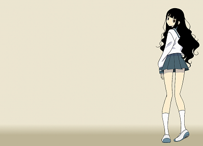 Sayonara Zetsubou Sensei, school uniforms, schoolgirls, skirts, long hair, socks, brown eyes, simple background, anime girls, looking back, sailor uniforms, bangs, black hair, wavy hair, beige background, gradient background, Itoshiki Rin - related desktop wallpaper