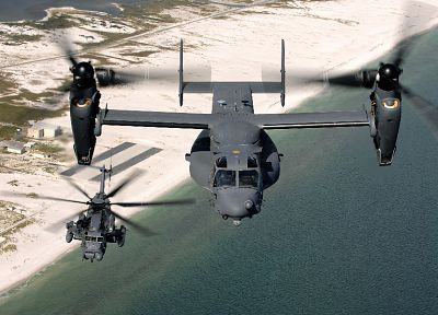 aircraft, military, helicopters, vehicles, V-22 Osprey, MH-53 Pave Low - random desktop wallpaper