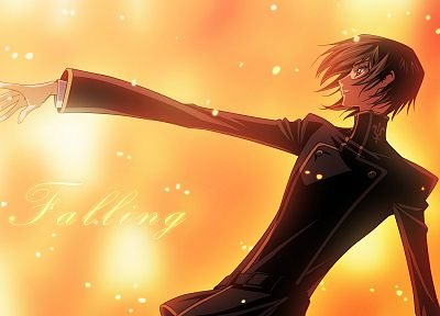 Code Geass, school uniforms, red eyes, Lamperouge Lelouch, falling, black hair - desktop wallpaper