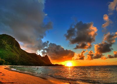 sunset, nature, Hawaii, sea, beaches - desktop wallpaper