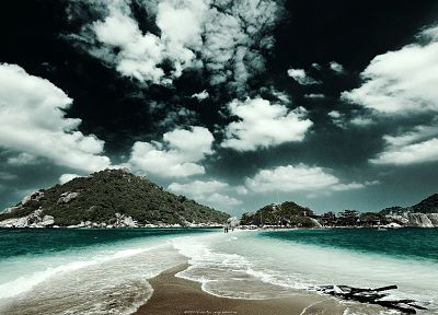 water, mountains, ocean, clouds, rocks, outdoors, skies, sea, beaches - desktop wallpaper