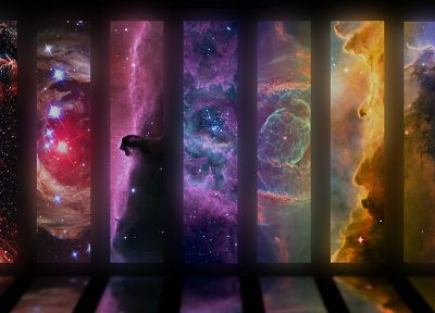 outer space, artistic, rainbows - random desktop wallpaper