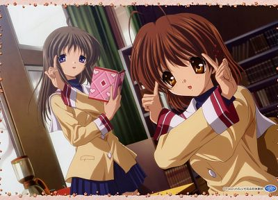school uniforms, Clannad, Furukawa Nagisa, Miyazawa Yukine, anime girls - related desktop wallpaper