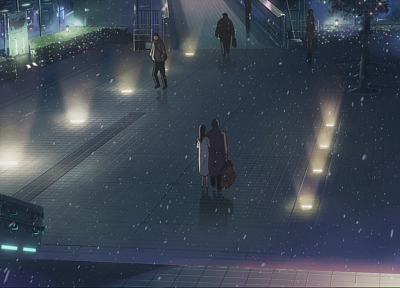 Makoto Shinkai, 5 Centimeters Per Second, artwork, anime, snowing - random desktop wallpaper