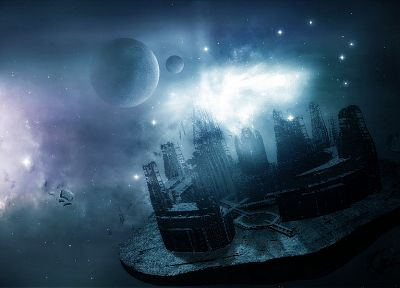 fantasy, outer space, stars, planets, digital, CGI - desktop wallpaper