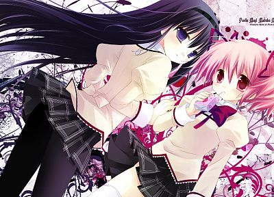 brunettes, school uniforms, skirts, pink hair, tights, Mahou Shoujo Madoka Magica, Kaname Madoka, anime, Akemi Homura, purple eyes, pink eyes, anime girls - related desktop wallpaper