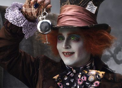 Alice in Wonderland, Mad Hatter, Johnny Depp, pocket watch - related desktop wallpaper