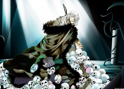 boots, skulls, red eyes, Pandora Hearts, anime, anime boys, white hair, Xerxes Break, albino, bandages, hats - desktop wallpaper