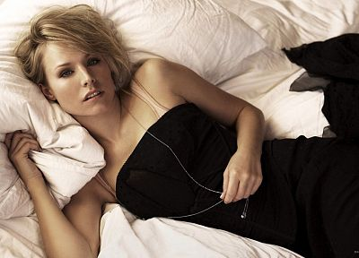 women, Kristen Bell, actress, celebrity, pillows, black dress - duplicate desktop wallpaper