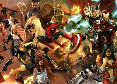 Iron Man, Thor, Spider-Man, Captain America, Avengers comics, Marvel Comics, Red Skull - desktop wallpaper