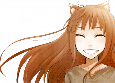 Spice and Wolf, animal ears, smiling, closed eyes, Holo The Wise Wolf, simple background, inumimi, anime girls - desktop wallpaper