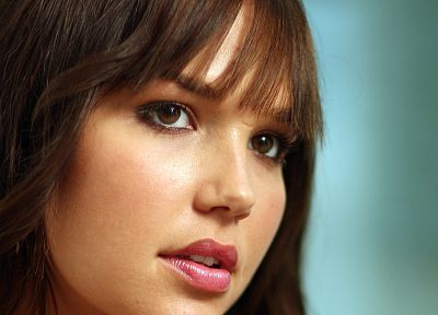 brunettes, women, actress, brown eyes, Arielle Kebbel, open mouth, bangs - desktop wallpaper