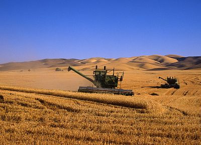 fields, combine harvester, farming, agriculture, multiscreen - random desktop wallpaper