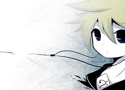 blondes, Vocaloid, blue eyes, Kagamine Len, short hair, earphones, anime boys, faces - desktop wallpaper