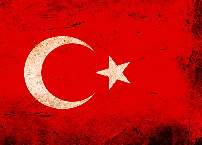 grunge, flags, Turkey - desktop wallpaper