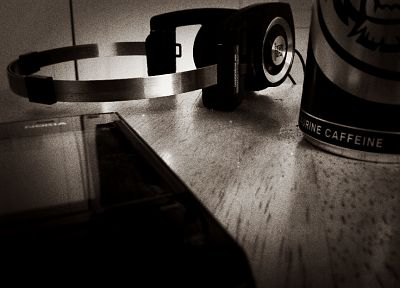 headphones, close-up, caffeine, monochrome, Nokia, koss - desktop wallpaper