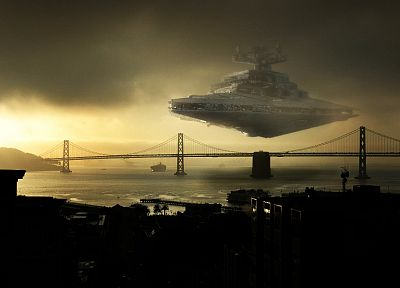 Star Wars, bridges, Star Destroyer, photo manipulation - desktop wallpaper