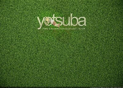 text, quotes, grass, Yotsuba, Yotsubato - related desktop wallpaper
