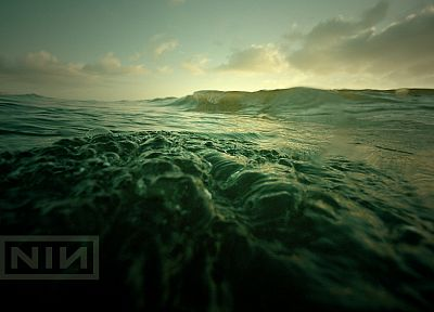 water, ocean, nature, minimalistic, Nine Inch Nails, music, waves, music bands, skyscapes, sea - related desktop wallpaper