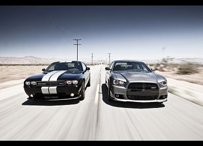 cars, muscle cars, Dodge Challenger, Dodge Charger, Dodge Challenger SRT8 - related desktop wallpaper