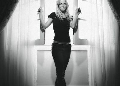 blondes, women, jeans, Britney Spears, window, grayscale, singers, monochrome - related desktop wallpaper