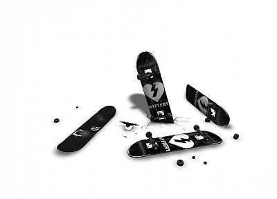 skateboards, white background - random desktop wallpaper