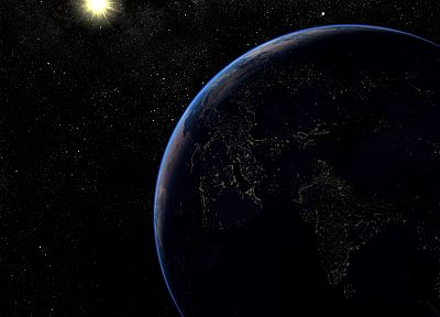 outer space, stars, planets, Earth, Planet Earth, city lights - desktop wallpaper